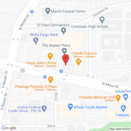 Map of Pinova Dental in EL Paso - Mesa TX