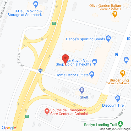 Map of Spencer Dental in Colonial Heights VA